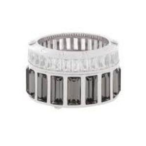 Henri Bendel Barrel Ring Silver and Hematite Ring
